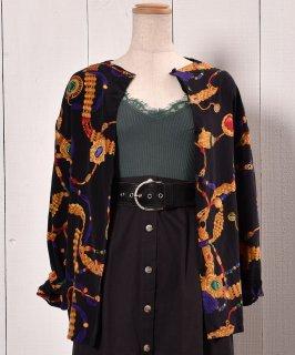 古着 Jewelry Pattern  Long Sleeve Silk Shirt| 長袖 シルクシャツ ジュエリー柄 ノーカラー  古着のネット通販 古着屋グレープフルーツムーン