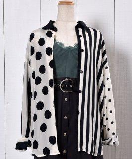 古着 Dot & Stripe Long Sleeve Silk Shirt| 長袖 シルクシャツ ドット ストライプ 古着のネット通販 古着屋グレープフルーツムーン