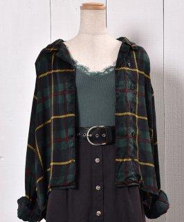 古着 Black Watch Long Sleeve Shirt Asymmetry Design|ブラックウォッチ チェック 長袖 シャツ アシンメトリー 古着のネット通販 古着屋グレープフルーツムーン