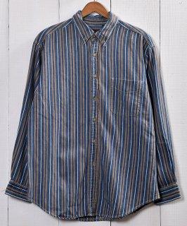 古着 Stripe Denim Long Sleeve Shirt |デニム ストライプ 長袖シャツ 古着 ネット 通販 古着屋グレープフルーツムーン