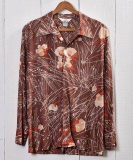 古着 Made in USA 70's Long Sleeve Shirt Artistic Painted  アメリカ製 長袖シャツ 総柄 ビックカラー 古着のネット通販 古着屋グレープフルーツムーン
