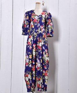 古着 Made in USA Short Sleeve  All-In-One Scalloped Flower Pattern | アメリカ製 半袖 スカラップ オールインワン 大花柄 古着のネット通販 古着屋グレープフルーツムーン