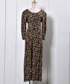 古着 Made in USA 7Sleeve  All-In-One Flower Pattern Round Neck  | アメリカ製 七分袖 オールインワン 花柄 ラウンドネック 古着のネット通販 古着屋グレープフルーツムーン