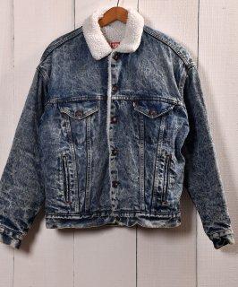 古着 Levis Chemical Wash Black Denim Boa Jacket | リーバイス ケミカルウォッシュ デニムボアジャケット  古着 ネット 通販 古着屋グレープフルーツムーン