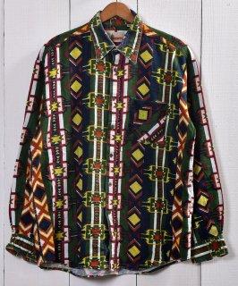 古着 <img class='new_mark_img1' src='https://img.shop-pro.jp/img/new/icons14.gif' style='border:none;display:inline;margin:0px;padding:0px;width:auto;' />Native Pattern Euro Flannel Shirt|ネイティブ柄 ユーロフランネル シャツ|ドイツ製|グリーン系 古着のネット通販 古着屋グレープフルーツムーン