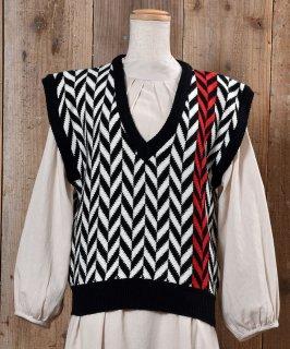 古着 V Neck Knit Vest| Vネック  ニット ベスト|ブラック×ホワイト 古着のネット通販 古着屋グレープフルーツムーン