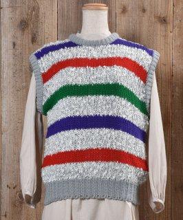 古着Multi Border Low Gauge Knit Vest|マルチボーダー ローゲージ ニットベスト 古着のネット通販 古着屋グレープフルーツムーン