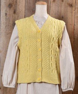 古着Alan like Knitting V Neck Vest|アランニット風 Vネックベスト イエロー系 古着のネット通販 古着屋グレープフルーツムーン