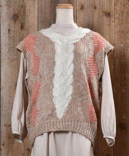 古着 Big Silhouette Cable Knitting Vest|ビッグシルエット ケーブル編み ニットベスト  古着のネット通販 古着屋グレープフルーツムーン
