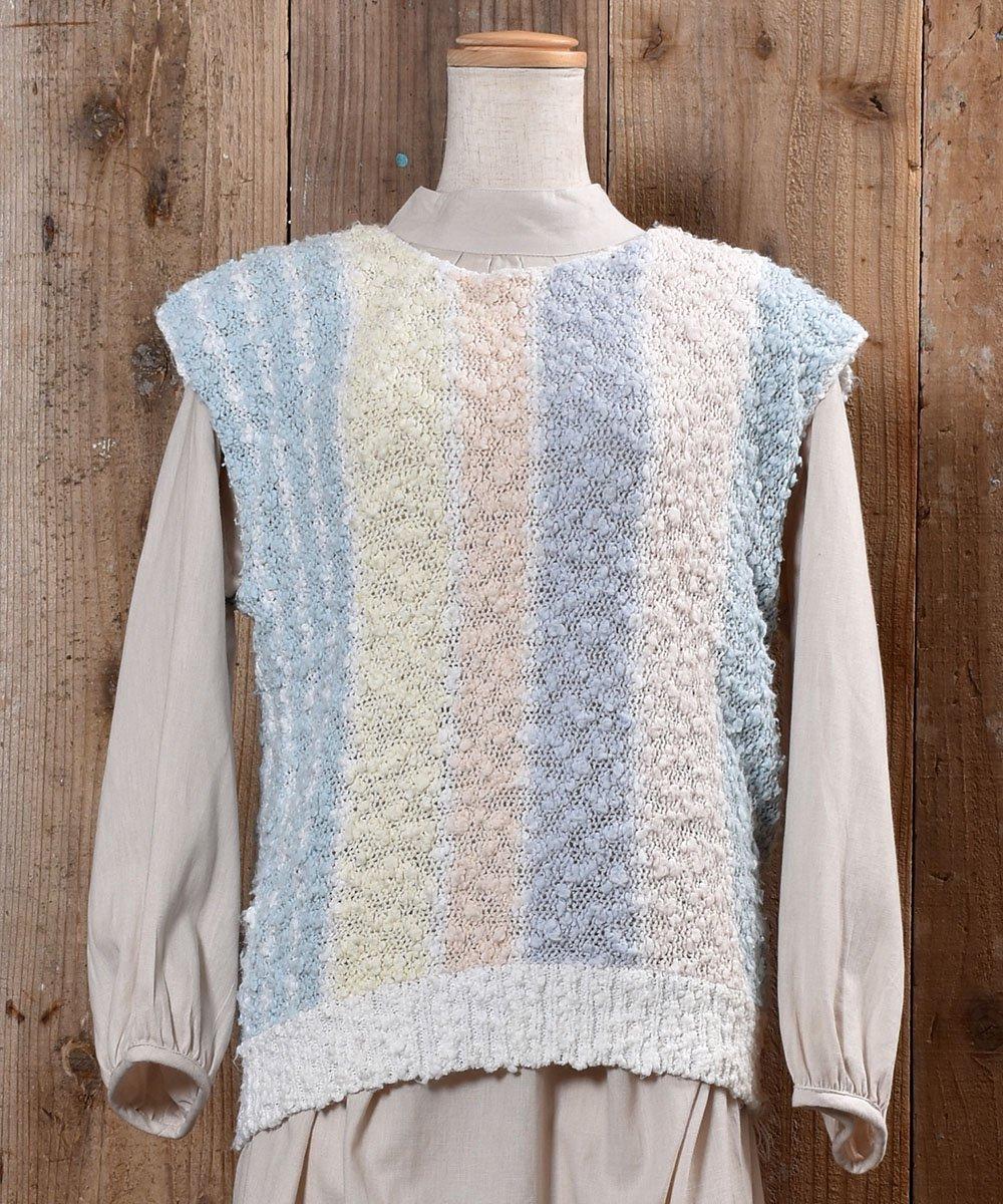 古着 Stripe Pattern Knit Vest|ストライプ ローゲージ ニットベスト 古着 ネット 通販 古着屋グレープフルーツムーン