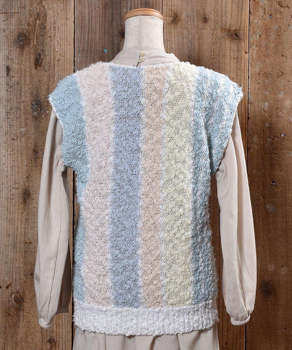 Stripe Pattern Knit Vest|ストライプ ローゲージ ニットベストサムネイル
