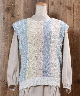 古着Stripe Pattern Knit Vest|ストライプ ローゲージ ニットベスト 古着のネット通販 古着屋グレープフルーツムーン