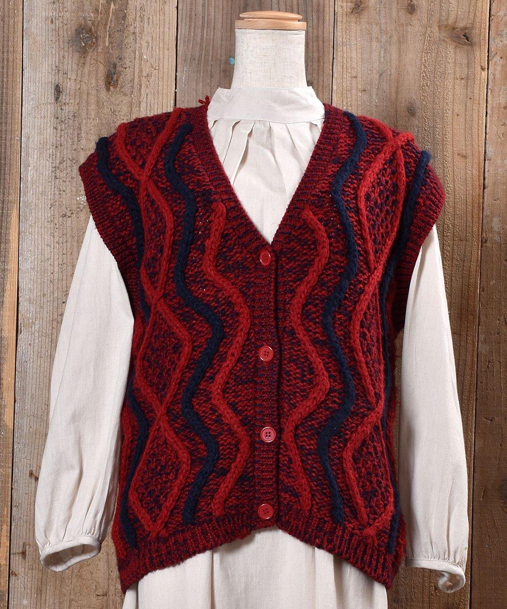 古着 Design Knitting V Neck Vest|ニュアンスカラー デザインVネックニットベスト 古着 ネット 通販 古着屋グレープフルーツムーン