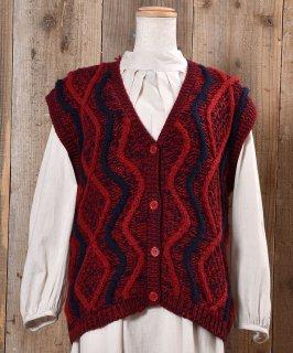 古着Design Knitting V Neck Vest|ニュアンスカラー デザインVネックニットベスト 古着のネット通販 古着屋グレープフルーツムーン