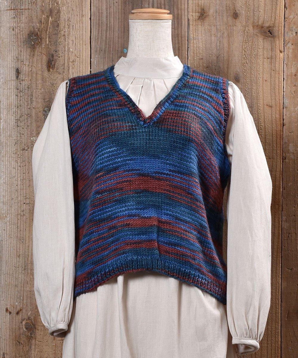 古着 Mix Color V Neck Knit Vest|ミックスカラー Vネック ニット ベスト 古着 ネット 通販 古着屋グレープフルーツムーン