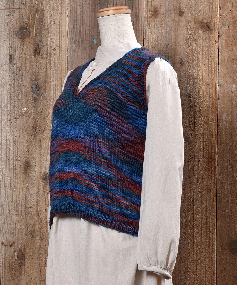Mix Color V Neck Knit Vest|ミックスカラー Vネック ニット ベストサムネイル