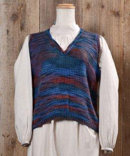 古着Mix Color V Neck Knit Vest|ミックスカラー Vネック ニット ベスト 古着のネット通販 古着屋グレープフルーツムーン