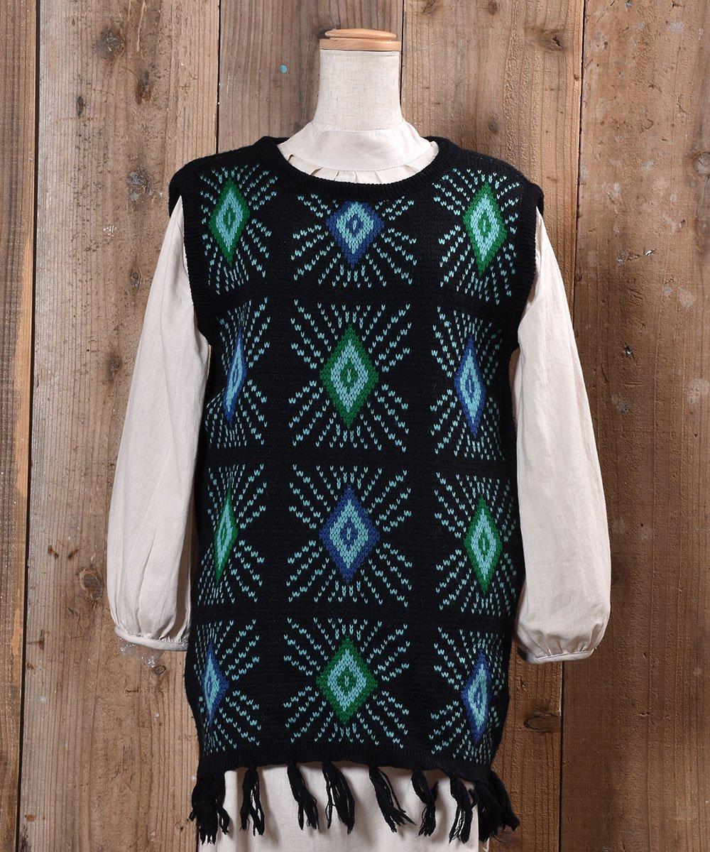 古着 70's〜80's|White Stag|diamond Pattern Fringe V Neck Long Knit Vest|ダイヤ柄 フリンジ Vネック ロング ニット ベスト |ブラック系 古着 ネット 通販 古着屋グレープフルーツムーン