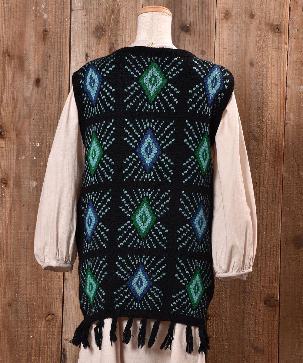 70's〜80's|White Stag|diamond Pattern Fringe V Neck Long Knit Vest|ダイヤ柄 フリンジ Vネック ロング ニット ベスト |ブラック系サムネイル