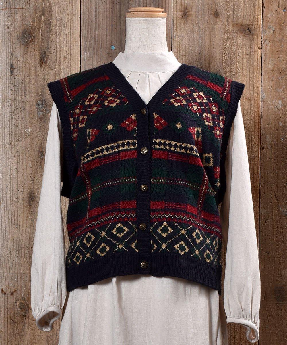 古着 Made in USA Nordic Pattern Gold Button Knit Vest|アメリカ製 ノルディック柄 ゴールドボタン ニットベスト 古着 ネット 通販 古着屋グレープフルーツムーン