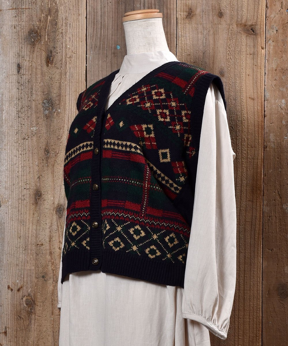 Made in USA Nordic Pattern Gold Button Knit Vest|アメリカ製 ノルディック柄 ゴールドボタン ニットベストサムネイル