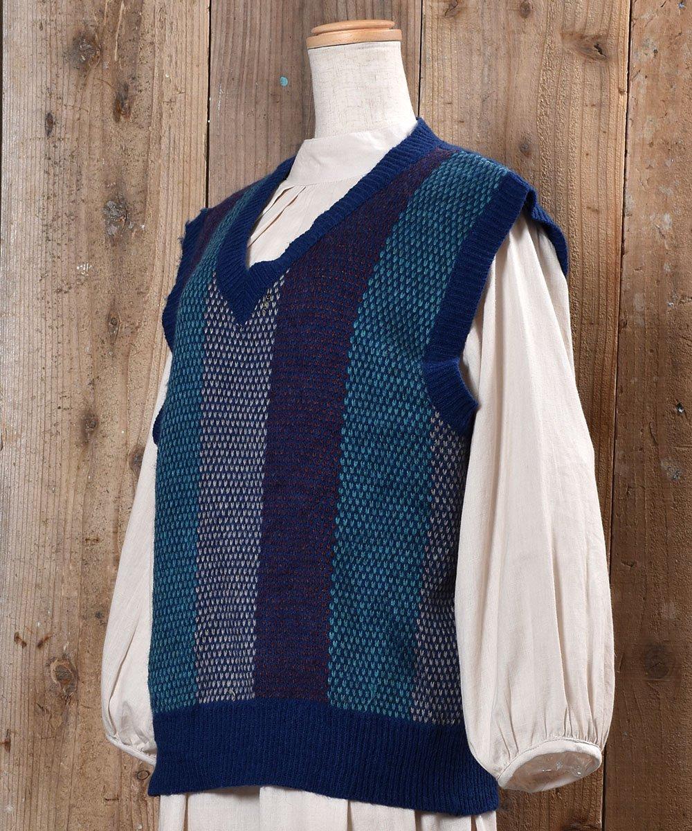 Stripe Pattern V Neck Knit Vest|ストライプ Vネック ニットベスト|ブルー系サムネイル