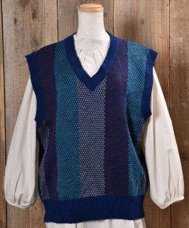 古着Stripe Pattern V Neck Knit Vest|ストライプ Vネック ニットベスト|ブルー系 古着のネット通販 古着屋グレープフルーツムーン