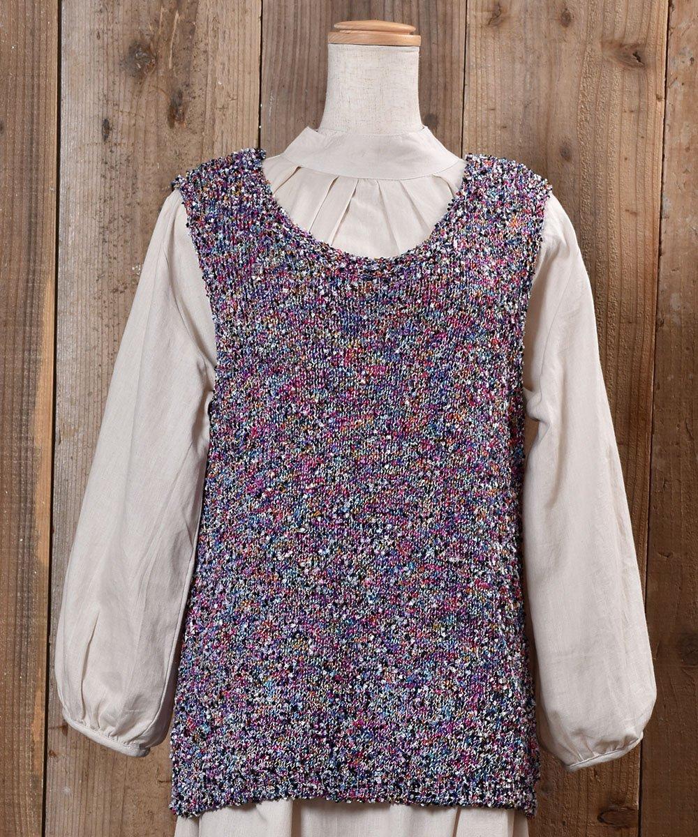 古着 Lame Yarn V Neck Vest|ラメ入り編み込みVネックベスト 古着 ネット 通販 古着屋グレープフルーツムーン