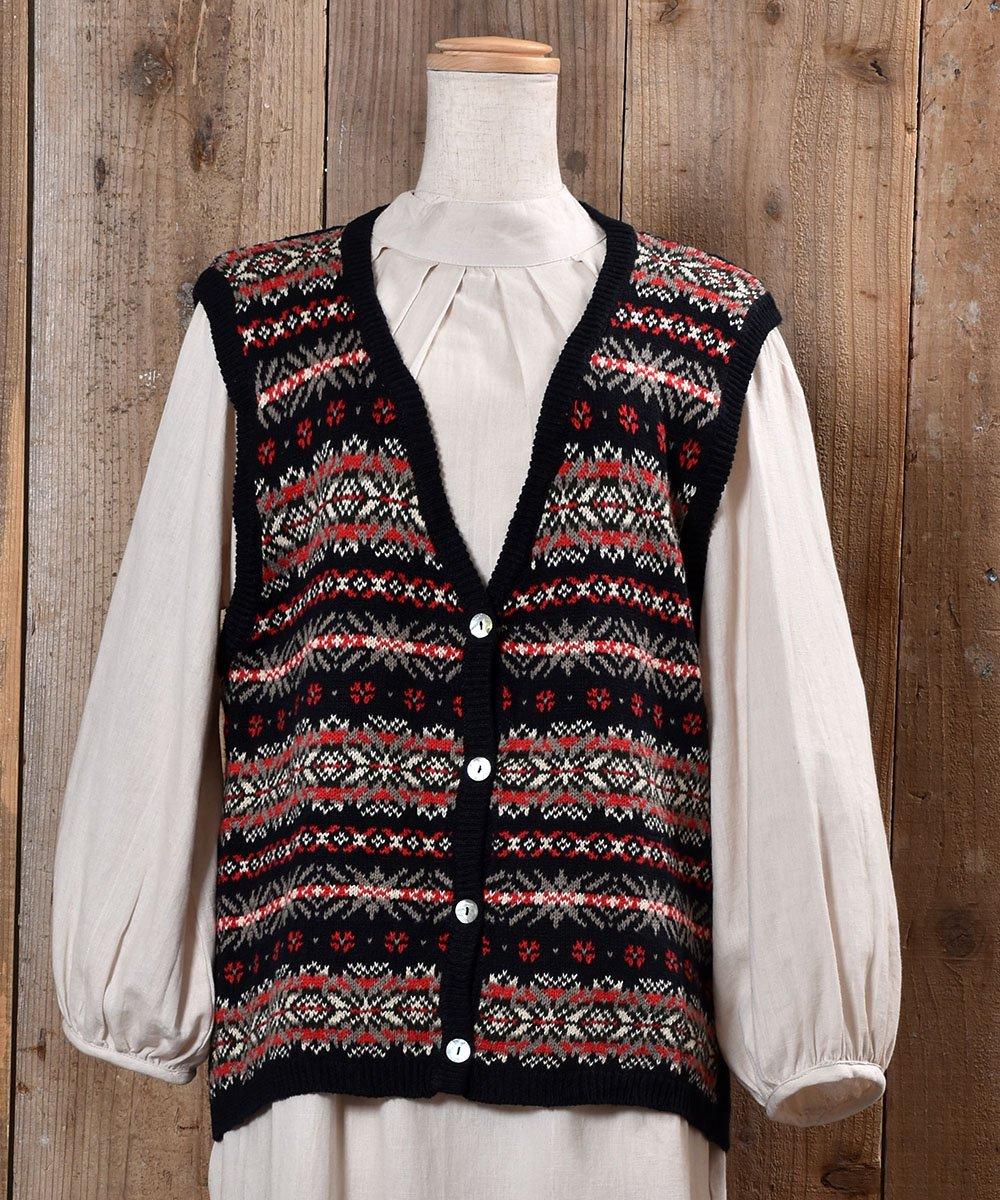古着 Nordic Pattern V Neck Rib Knit Vest|ノルディック柄Vネック リブニットベスト 古着 ネット 通販 古着屋グレープフルーツムーン