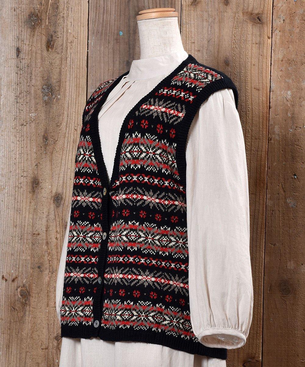 Nordic Pattern V Neck Rib Knit Vest|ノルディック柄Vネック リブニットベストサムネイル