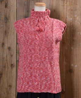古着 Turtle Neck Knit Vest|タートルネック ニットベスト|ピンク系 古着のネット通販 古着屋グレープフルーツムーン