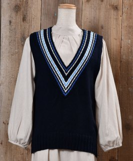 古着MADE IN UK V Neck Knit Vest|ストライプ Vネック ニットベスト|イギリス製|ネイビー系 古着のネット通販 古着屋グレープフルーツムーン