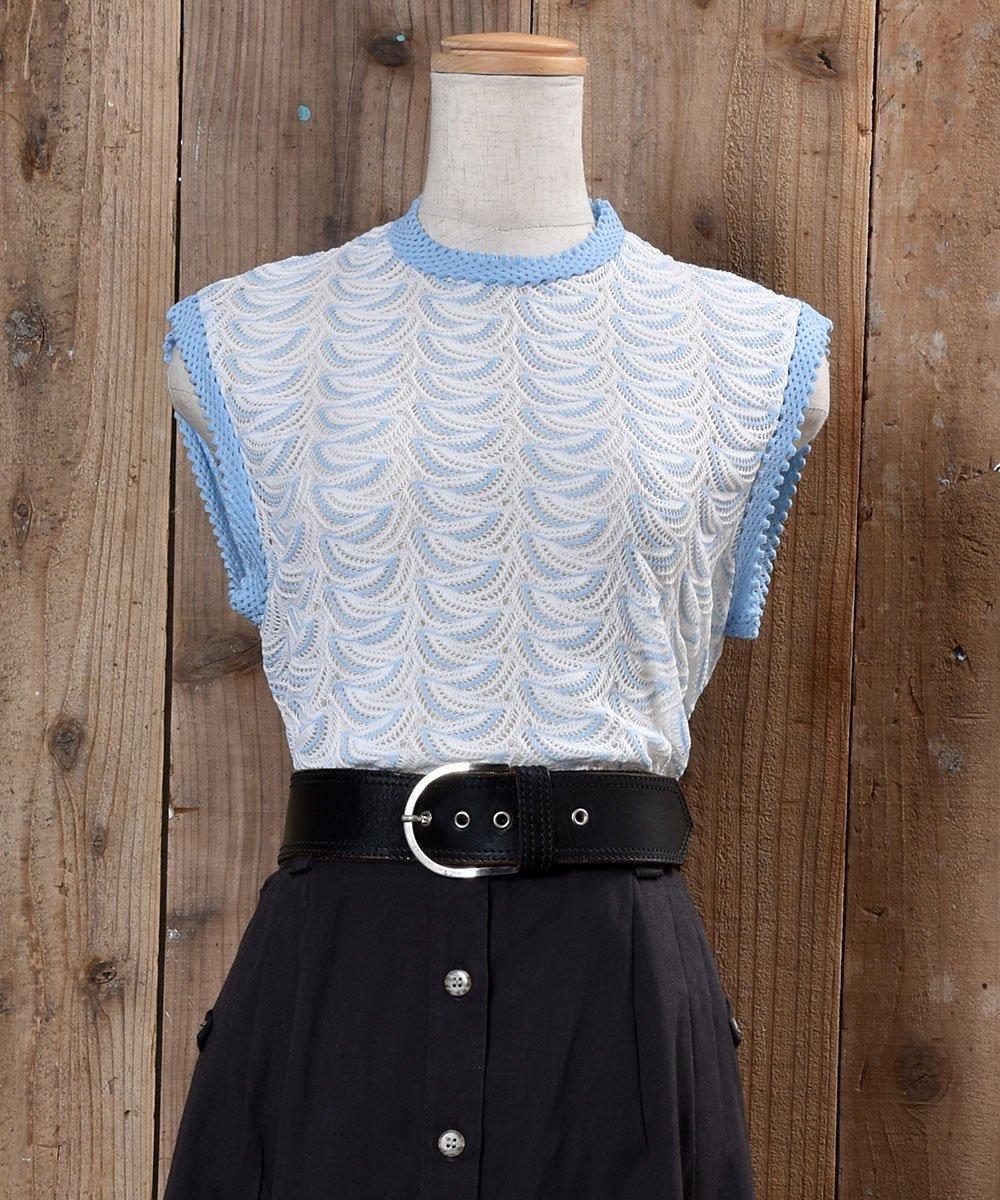 古着 70's〜80's Standing Collar Knit Vest 立ち襟 ニットベスト ホワイト系 古着 ネット 通販 古着屋グレープフルーツムーン