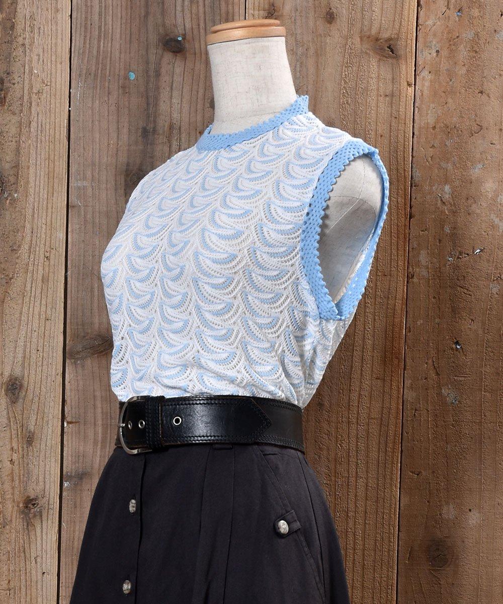 70's〜80's Standing Collar Knit Vest 立ち襟 ニットベスト ホワイト系サムネイル