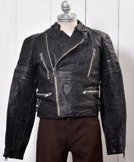 古着Motorcycle Leather Jacket|スタンドカラー ライダース ジャケット|ブラック  古着のネット通販 古着屋グレープフルーツムーン