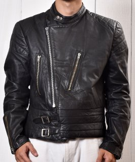 古着Euro Motorcycle Leather Jacket|ユーロ スタンドカラー ライダース ジャケット|ブラック  古着のネット通販 古着屋グレープフルーツムーン