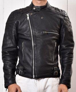 古着MADE IN ENGLAND Motorcycle Leather Jacket|イングランド製 スタンドカラー ライダース ジャケット|ブラック  古着のネット通販 古着屋グレープフルーツムーン