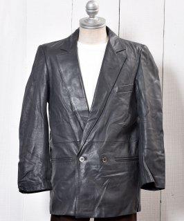 古着 Double Breasted Leather Blazer|ダブルブレステッド レザーブレザー グレー 古着のネット通販 古着屋グレープフルーツムーン