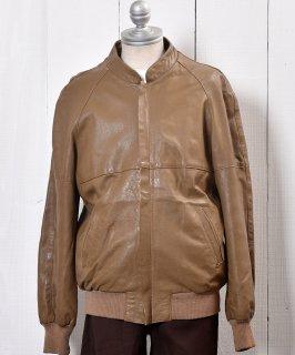 古着 <img class='new_mark_img1' src='https://img.shop-pro.jp/img/new/icons14.gif' style='border:none;display:inline;margin:0px;padding:0px;width:auto;' />Stand Collar Leather Jacket Blouson type Camel | スタンドカラー レザー ジャケット ブルゾン型 キャメル 古着のネット通販 古着屋グレープフルーツムーン