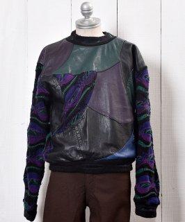 古着Crazy Pattern Mix Fabric Leather Tops |クレイジーパターン異素材ミックス レザー トップス クージー風 古着のネット通販 古着屋グレープフルーツムーン