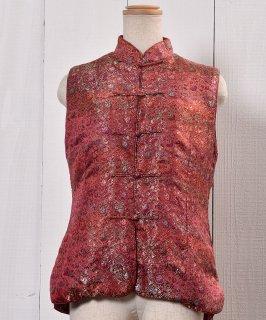 古着Flower Pattern China Vest Pink|花柄 チャイナ ベスト ピンク 古着のネット通販 古着屋グレープフルーツムーン