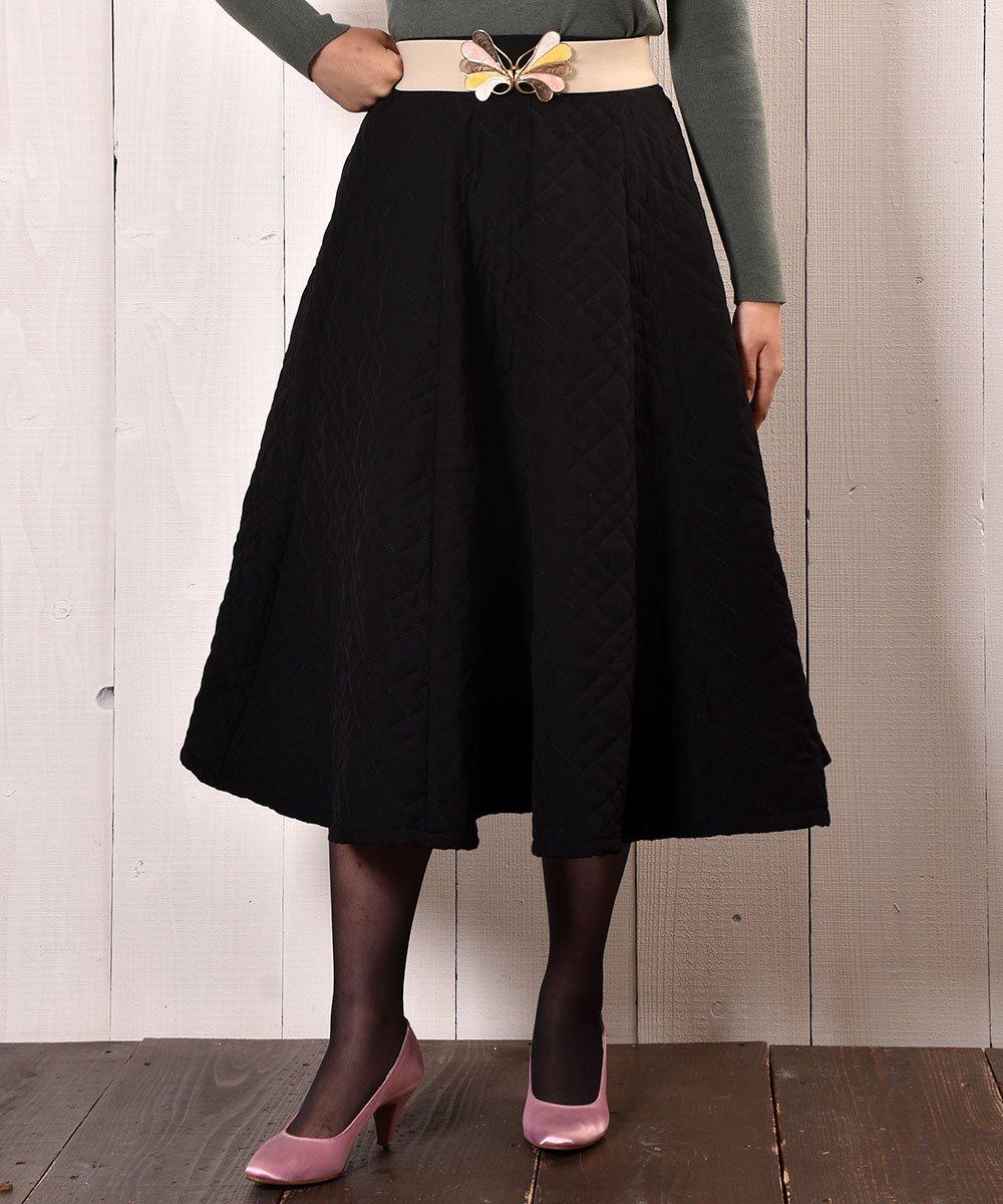 """古着 【3 Color Available】 """"Meridian"""" Circular Quilting Skirt サーキュラー キルティングスカート ブラック 古着 ネット 通販 古着屋グレープフルーツムーン"""