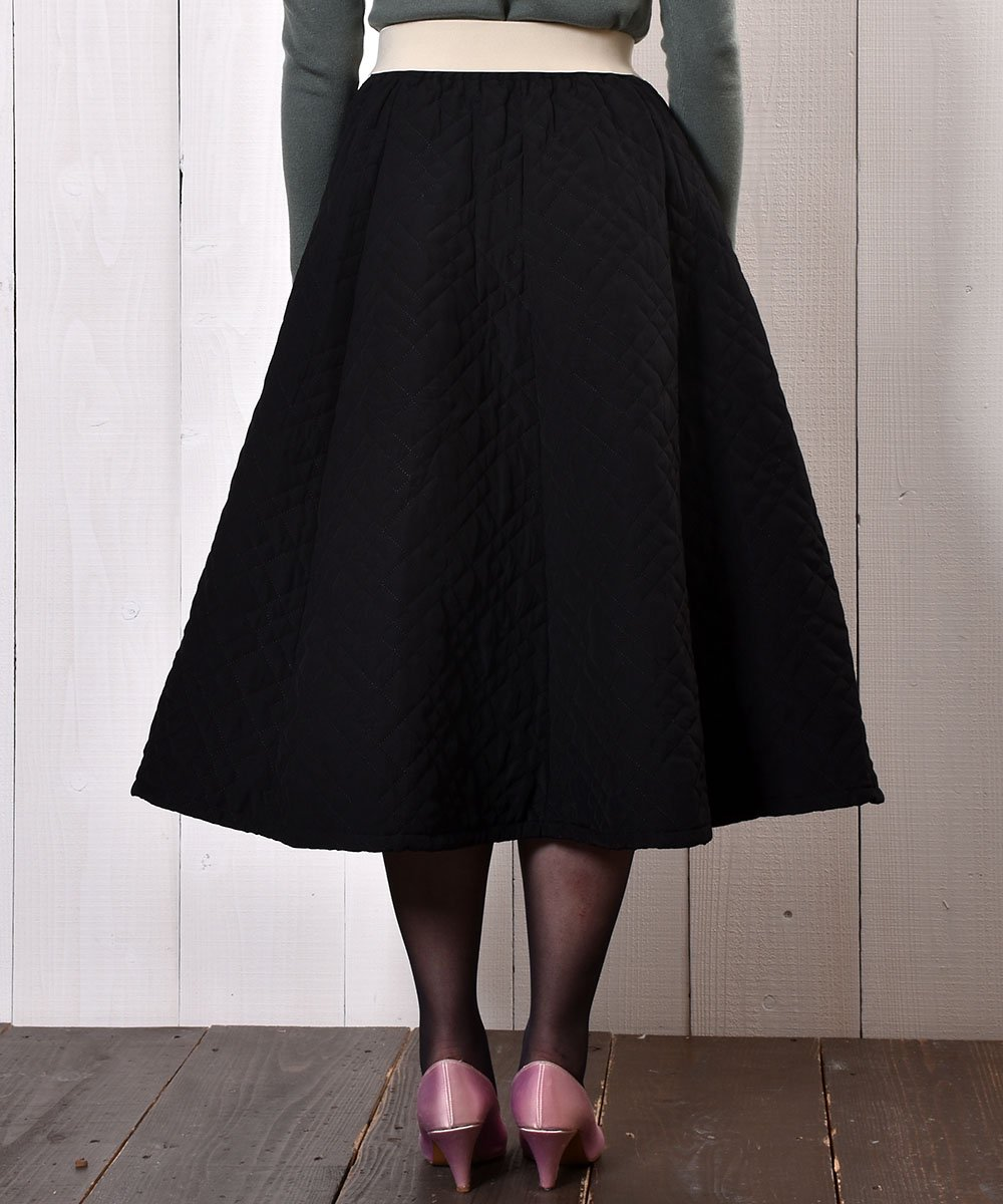 """【3 Color Available】 """"Meridian"""" Circular Quilting Skirt サーキュラー キルティングスカート ブラックサムネイル"""