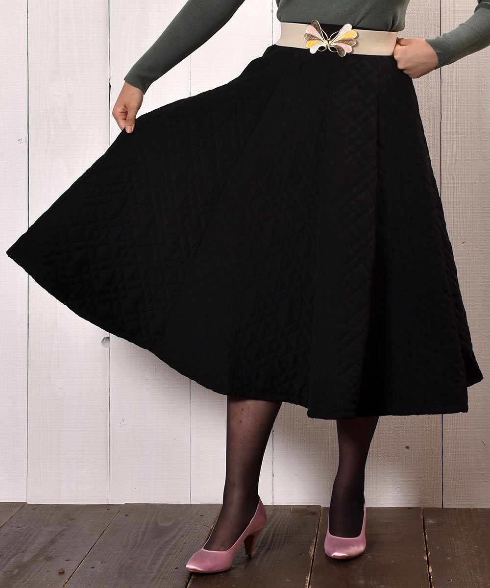 "【3 Color Available】 ""Meridian"" Circular Quilting Skirt|サーキュラー キルティングスカート アイボリーサムネイル"