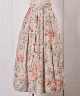 古着Made in USA Rose Pattern Tuck Skirt|アメリカ製 薔薇柄 ミディ丈 タックスカート 古着のネット通販 古着屋グレープフルーツムーン