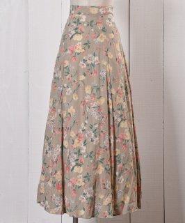古着Made in USA Flower Pattern Flare Skirt|アメリカ製 花柄 ロング丈 フレア スカート 古着のネット通販 古着屋グレープフルーツムーン
