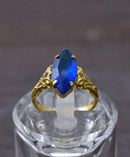 古着ヨーロッパ製 イミテーションサファイア ゴールドカラーリング|Made in Europe Gold Color Ring Imitation Sapphire 古着のネット通販 古着屋グレープフルーツムーン