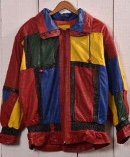 古着Colorful Leather Patchwork Jacket Blouson type| カラフルレザー パッチワーク ジャケット ブルゾン型  古着のネット通販 古着屋グレープフルーツムーン