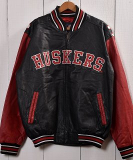 古着Black×Red Leather Stadium jumper | レザー スタジアムジャンパー スタジャン  古着のネット通販 古着屋グレープフルーツムーン