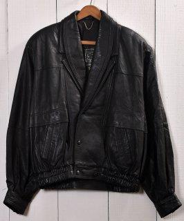 古着Black Leather Jacket | レザー ジャケット ブルゾン型  ブラック 古着のネット通販 古着屋グレープフルーツムーン